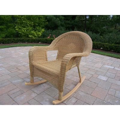 Honey Wicker Outdoor Rocking Chair (2-Pack)