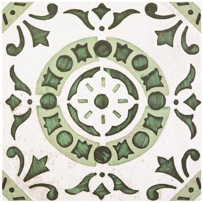 Retro Green Medallion 12 in. x 12 in. Self-Adhesive Vinyl Floor Tile (20 Tiles/20 sq. ft.)