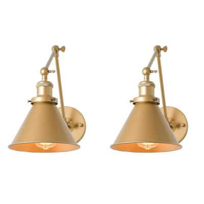 1-Light Brass Swing Arms Double Joints Aged Wall Lamp 2-in-1 Plug-In/Hardwired (Set of 2)
