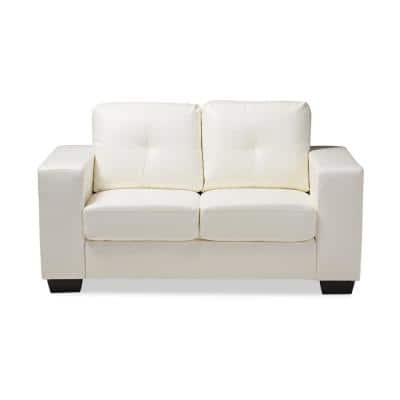 Adalynn 59.8 in. White Faux Leather 2-Seater Loveseat with Square Arms