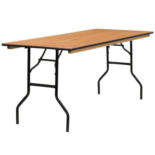 72 In Natural Wood Tabletop Metal Frame Folding Table Cga Yt 3691 Na Hd The Home Depot