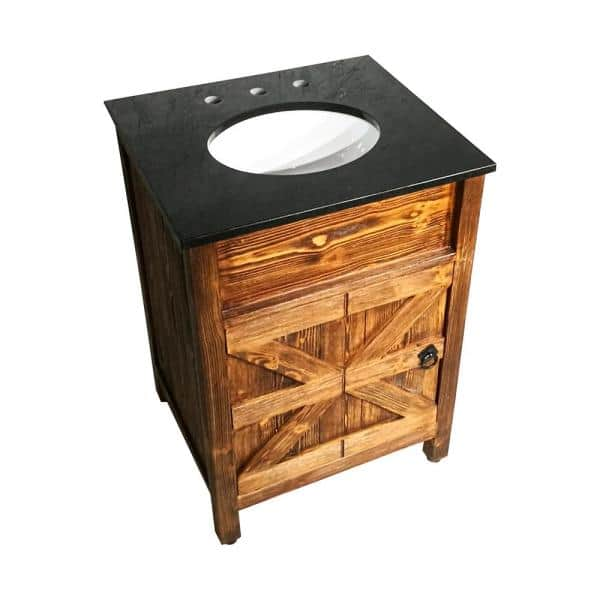24 In W X 21 In D Bath Vanity In Natural Teak With Granite Vanity Top In Black With White Basin Ch2124fs The Home Depot