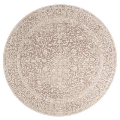 Reflection Beige/Cream 5 ft. x 5 ft. Round Floral Distressed Area Rug