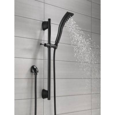 Stryke 1-Spray 2.3 in. Single Wall Bar Mount Handheld H2Okinetic Shower Head in Matte Black