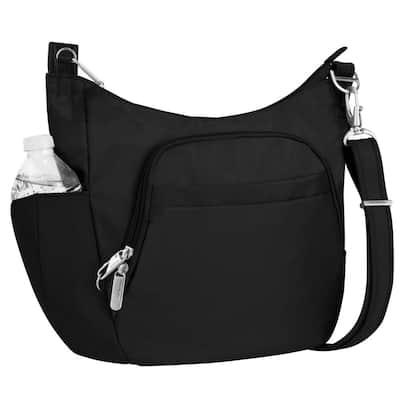 Anti-Theft Black Poly Crossbody Tote Bag