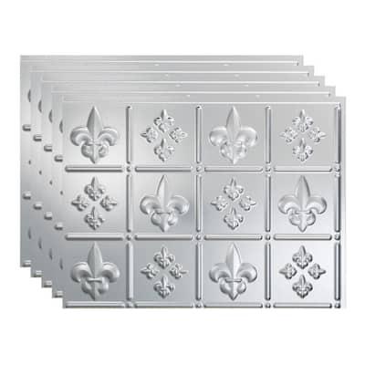Fleur de Lis 18 in. x 24 in. Brushed Aluminum Vinyl Decorative Wall Tile Backsplash 15 sq. ft. Kit