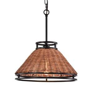 1-Light Black and Coffee Singe Cone Pendant with Rattan Shade