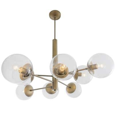 Mid-Century 8-Light Antique Brass Chandelier with Clear Glass