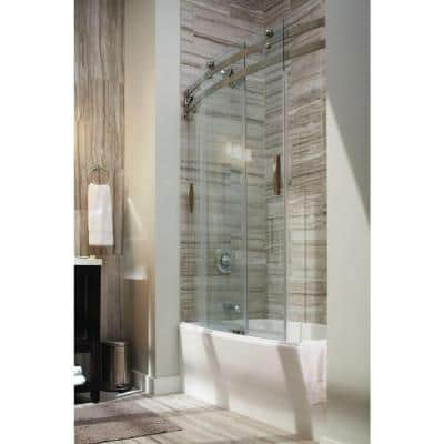 Classic 400 Curve 30 in. x 60 in. x 80 in. Bath and Shower Kit with Left-Hand Drain in White