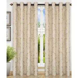 Linen Floral Grommet Room Darkening Curtain - 50 in. W x 84 in. L