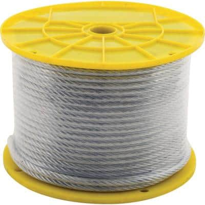 1/16 in. x 500 ft. Galvanized Steel Aircraft Cable, 7x7 Construction Reeled