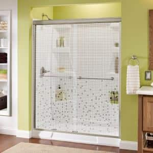 Lyndall 60 in. x 70 in. Semi-Frameless Traditional Sliding Shower Door in Brushed Nickel with Mozaic Glass