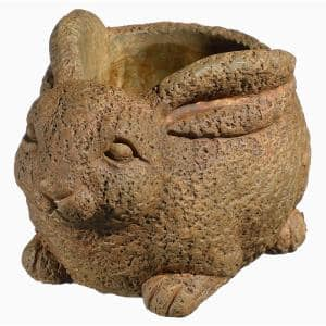 Cement Buddies 8 in. Rust Cement Rabbit Planter