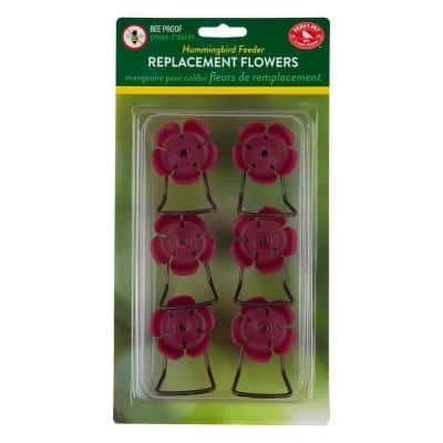 Replacement Pink Hollyhock Flower Feeding Ports and Perches