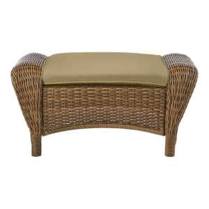 Beacon Park Brown Wicker Outdoor Patio Ottoman with CushionGuard Toffee Tan Cushions