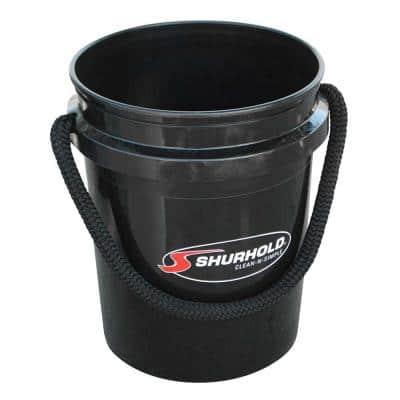 5 Gal. Black Bucket with Rope Handle