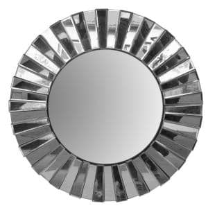 Small Round Silver Modern Mirror (1.5 in. H x 27.5 in. W)