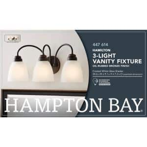 Hamilton 3-Light Oil Rubbed Bronze Vanity Light with Frosted Glass Shades
