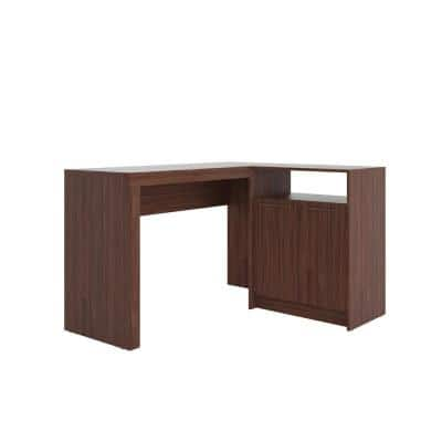 49 in. L-Shaped Dark Brown 1 Drawer Computer Desk with Solid Wood Material