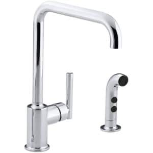 Purist Single-Handle Standard Kitchen Faucet with Side Sprayer in Polished Chrome