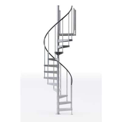 Reroute Galvanized Exterior 42in Diameter, Fits Height 127.5in - 142.5in 2 36in Tall Platform Rails Spiral Staircase Kit