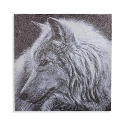 Dusted Glitter Wolf Unframed Canvas Wall Art