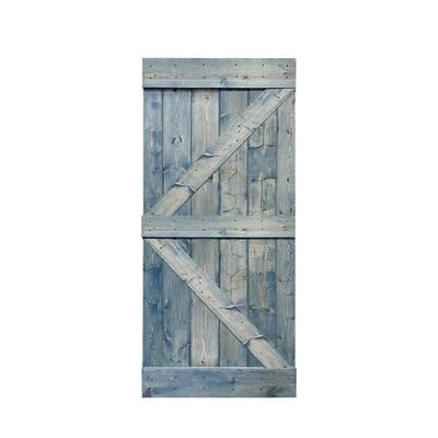 K Series 36 in. x 84 in. Solid Denim Blue Stained Pine Wood Interior Sliding Barn Door Slab