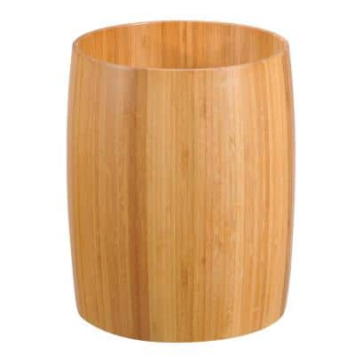 Natural Bamboo Barrel Shaped Bathroom Waste Basket Garbage Container Recycle Bin in Natural