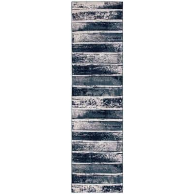 Montvale Collection Stripes Teal 2 ft. 7 in. x 9 ft. 10 in. Runner Rug