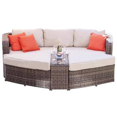 Sunny Brown 4-Piece Wicker Outdoor Daybed Sectional Set with Beige Cushions