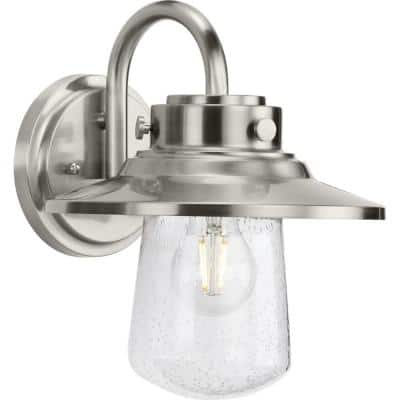Tremont 1-Light Stainless Steel Clear Seeded Glass Industrial Outdoor Medium Wall Lantern Light