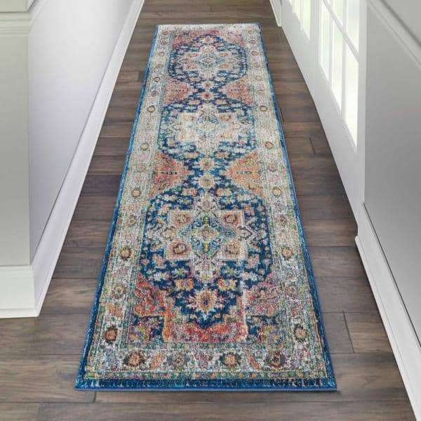 Nourison Global Vintage Blue Multicolor 2 Ft X 8 Ft Persian Traditional Runner Rug 707406 The Home Depot