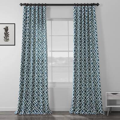 Martinique Blue Geometric Rod Pocket Room Darkening Curtain - 50 in. W x 96 in. L