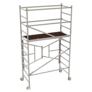 6 ft. x 5.4 ft. x 2.6 ft. Easy-Set Scaffold Tower with Guardrails 800 lbs. Load Capacity