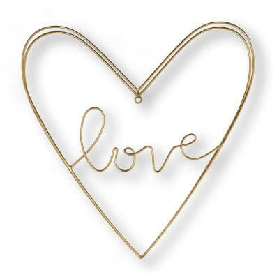 """16 in. x 16 in. """"Amour"""" Metal Wall Art"""