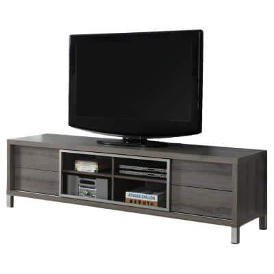 70 Inch Dark Taupe Euro Style TV Console Entertainment Stand