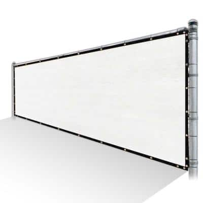 8 ft. x 12 ft. White Privacy Fence Screen HDPE Mesh Windscreen with Reinforced Grommets for Garden Fence (Custom Size)