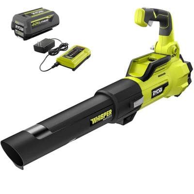 125 MPH 550 CFM 40V Brushless Cordless Battery Whisper Series Jet Fan Blower - 4.0 Ah Battery and Charger Included