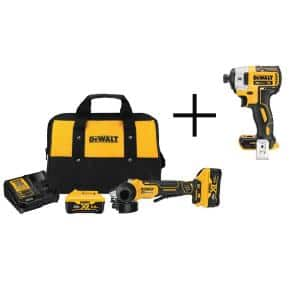 20-Volt MAX XR Cordless Brushless 4-1/2 in. Small Angle Grinder, (2) 20-Volt 6.0Ah Batteries & 1/4 in. Impact Driver
