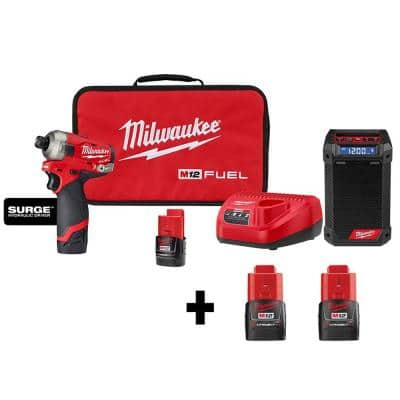 Milwaukee M12 FUEL SURGE 12-Volt Lithium-Ion Brushless Cordless Compact 1/4-in Hex Impact Driver Kit W/ Radio & (4) Batteries