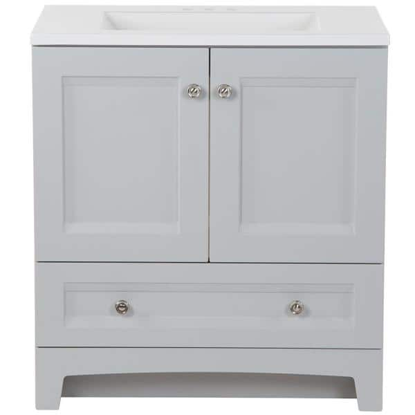 Glacier Bay Delridge 30 In W X 19 In D Bath Vanity In Pearl Gray With Cultured Marble Vanity Top In White With White Sink Dr30p2 Pg The Home Depot