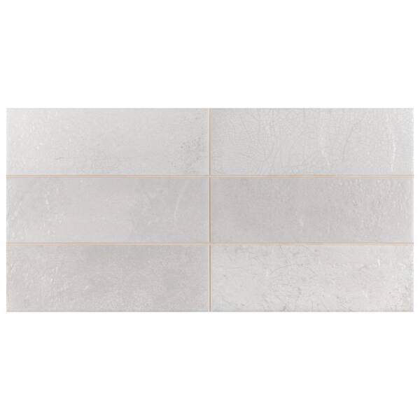 Merola Tile Take Home Sample Kings Raku White 15 3 4 In X 7 8 Ceramic Wall S1wperakwh The Depot