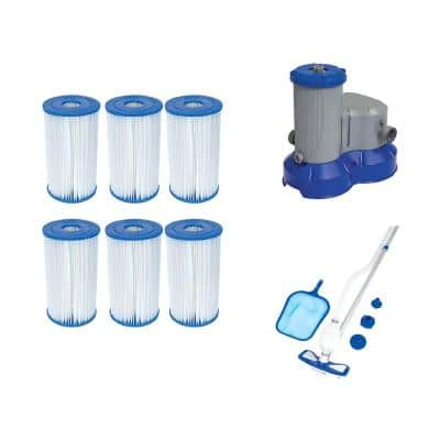 Type IV/B Pool Replacement Filter Cartridge (6-Pack) with Above Ground Filter Pump and Pool Cleaning Kit