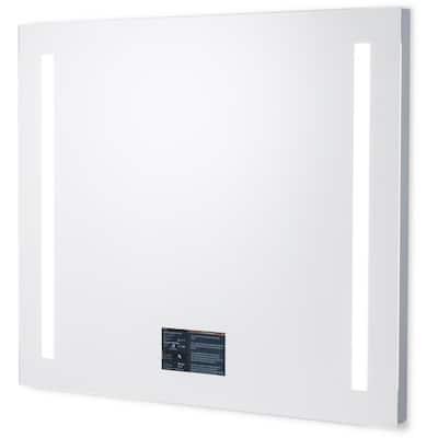 Smart 36 in. W x 30 in. H Frameless Rectangular LED Light Bathroom Vanity Mirror in Silver/Neutral