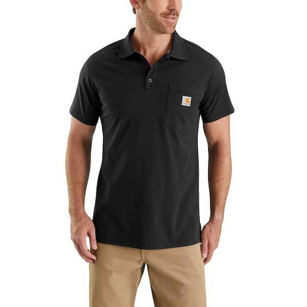 Men's Large Black Cotton/Polyester Force Cotton Delmont Pocket Polo Shirt