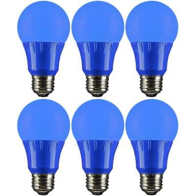 22-Watt Equivalent A19 LED Blue Light Bulbs Medium E26 Base in Blue (6-Pack)
