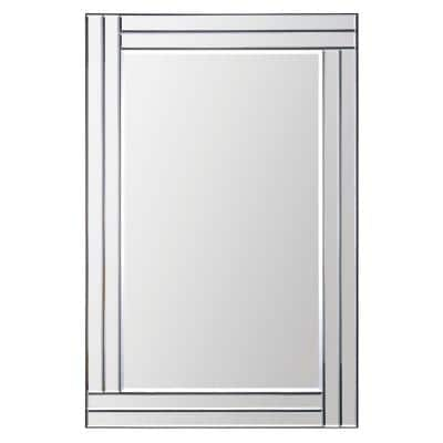 Medium Rectangle All Glass Beveled Glass Modern Mirror (35 in. H x 24 in. W)