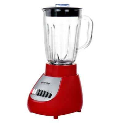 42 oz. 10-Speed Red 350-Watt Blender with Glass Jar