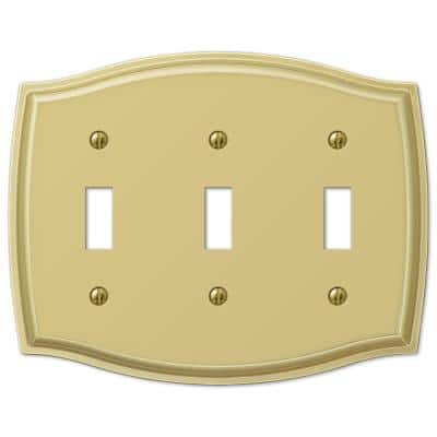 Vineyard 3 Gang Toggle Steel Wall Plate - Polished Brass