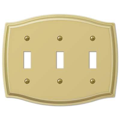 Vineyard 3 Gang Toggle Steel Wall Plate - Polished Brass